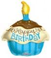Happy Birthday Blue Cupcake Balloon