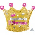 Happy Birthday Princess Crown Gold Pink Foil Balloon